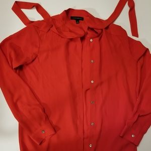 Banana Republic Bright Poppy Red Tie Neck Blouse